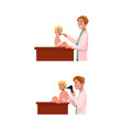 doctor pediatrician otolaryngologist checks baby vector image vector image