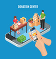 donation center isometric background vector image vector image