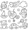doodle of baby element black white vector image