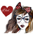 fashion with a face of pretty girl in glasses vector image
