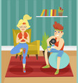 fitness couple exercising together indoor at home vector image vector image