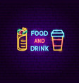 food and drink neon label vector image vector image