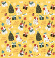 funny dogs with christmas tree decorations gift vector image