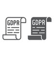 gdpr policy line and glyph icon privacy and vector image vector image