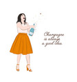girl holding champagne bottle quote magazine vector image vector image
