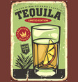 glass tequila with lemon slice vector image vector image