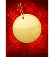 gold christmas gift tag taped to a glowing red bac vector image vector image