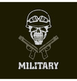 grunge military emblem with skull and guns vector image