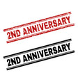 grunge textured and clean 2nd anniversary stamp vector image vector image
