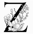 hand drawn floral uppercase z monogram and vector image vector image