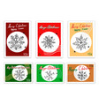 hand drawn sketch of various style of snowflakes vector image vector image