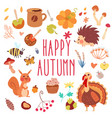 happy autumn cute set vector image vector image