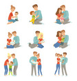 happy parents embracing their kids set mother and vector image