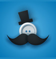 hat mustachen whisker sewing button vector image