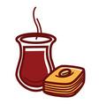 hot tea in jug and tasty sweet baklava