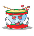 in love toy drum character cartoon vector image vector image