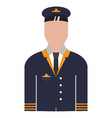 isolated male pilot avatar vector image