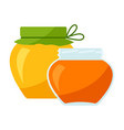 jars with honey icon for food vector image