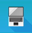 laptop flat design icon on blue background vector image