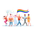 lgbt pride parade cartoon vector image vector image