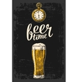 Male hands holding beer glass with antique pocket vector image vector image