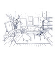 monochrome drawing of interior of living room with vector image vector image