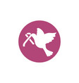pigeon with ribbon breast cancer awareness vector image vector image