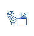 relaxing business man sitting at desk line icon vector image vector image