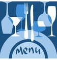 Restaurant menu cover with dishware vector image vector image