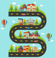 roadmap with buildings and cars on the road vector image vector image
