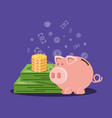 saving piggy with money and bill dollar vector image vector image
