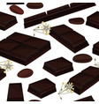 seamless background with piece of black chocolate vector image vector image