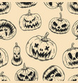seamless pattern with scary halloween pumpkins vector image