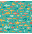 Seamless summer decorative fish pattern vector image