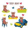 set isolated teddy bear vector image