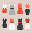 set of woman dress in vintage style vector image vector image