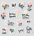 set stickers calligraphy love design vector image vector image