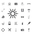 sun line icon summer set vector image vector image