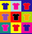 t-shirt sign pop-art style colorful icons vector image vector image