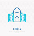 taj mahal thin line icon vector image