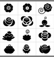 various kind black flower icon on white background vector image