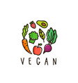 vegan sign isolated on white vector image vector image