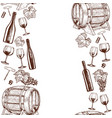 vertical seamless borders of sketch wine icons vector image vector image