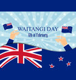 waitangi day hand holds a new zealand flag vector image