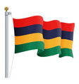 waving mauritius flag isolated on a white vector image vector image