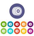 wheel sport car icons set color vector image