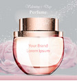 woman perfume bottle delicate rose fragrance vector image