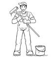 Worker in his equipment vector image vector image