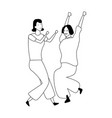 young women smiling and dancing in black and white vector image vector image