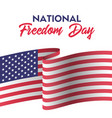 usa national freedom day card with american flag vector image